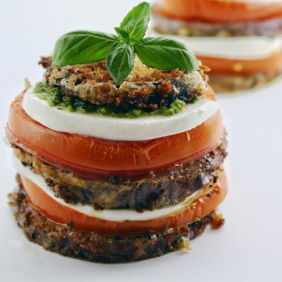 Crispy Eggplant Napoleon with Pesto and Garlic