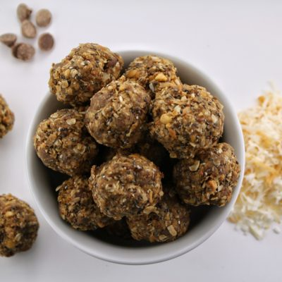 No Bake Energy Bites with Toasted Coconut