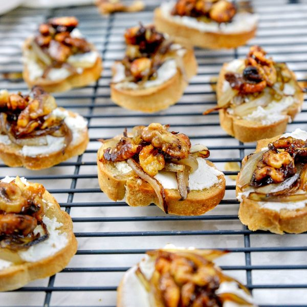 Goat Cheese Crostini with Candied Walnuts and Caramelized Onions