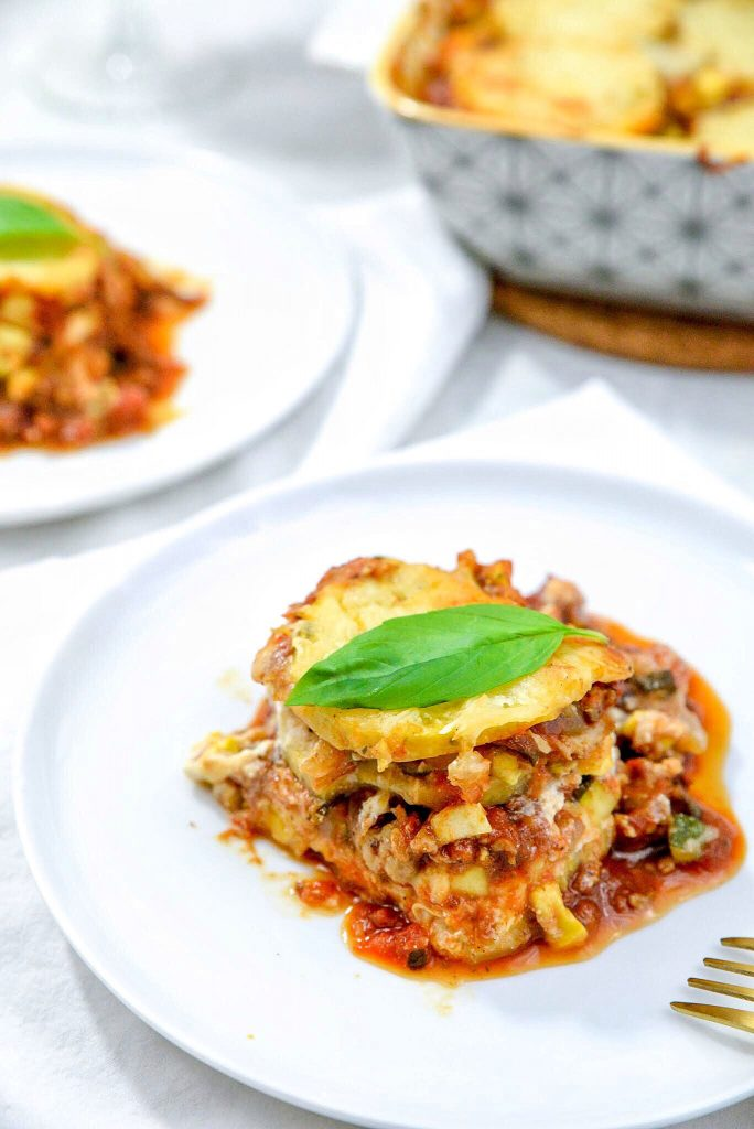 Cheesy Polenta Lasagna with Veggies and Homemade Meat Sauce