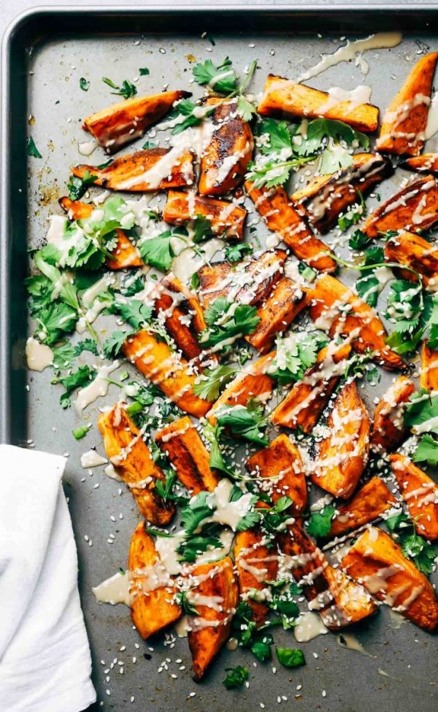 easy party appetizers in 30 minutes or less 30 Minute Sesame Roasted Sweet Potatoes 630x1024 - 17 Easy Party Appetizers You Can Make in 30 Minutes or Less