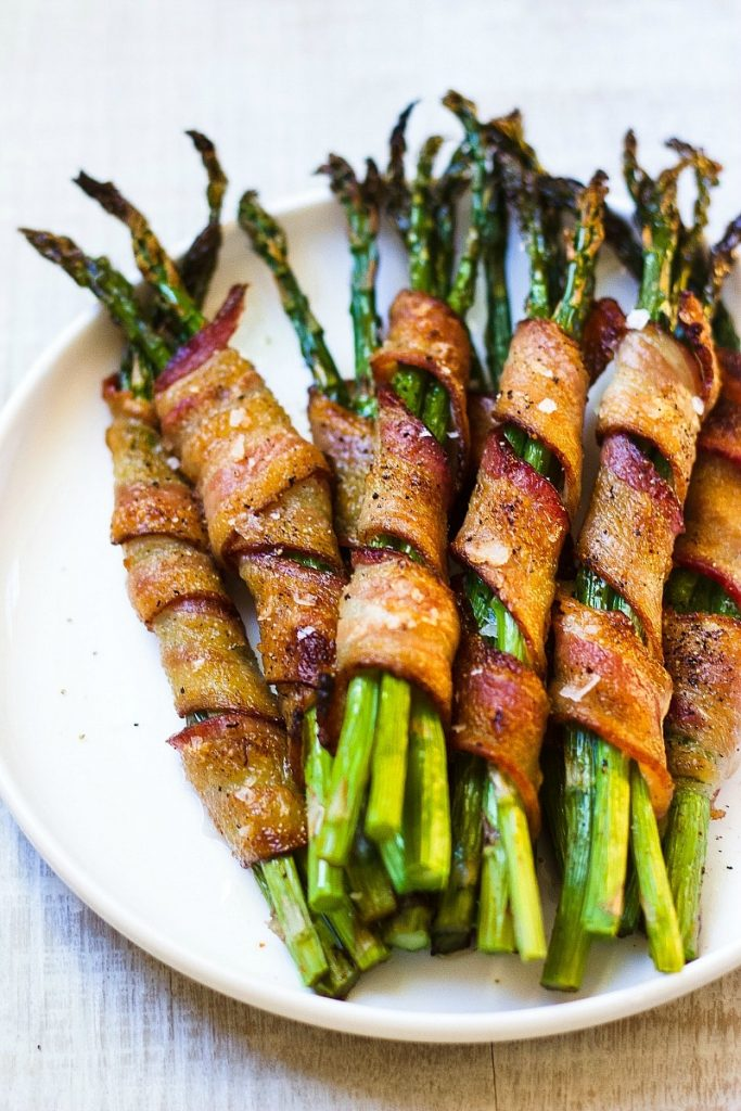 easy party appetizers in 30 minutes or less bacon wrapped asparagus 683x1024 - 17 Easy Party Appetizers You Can Make in 30 Minutes or Less