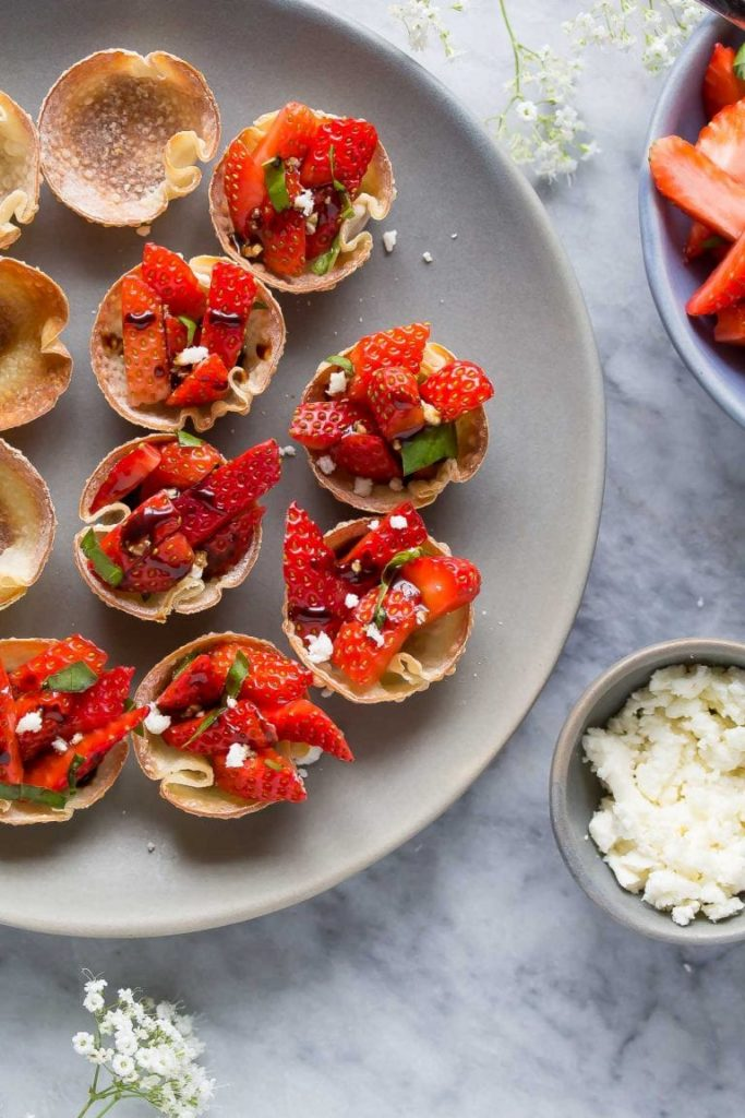 easy party appetizers in 30 minutes or less strawberry balsamic wonton bites 683x1024 - 17 Easy Party Appetizers You Can Make in 30 Minutes or Less