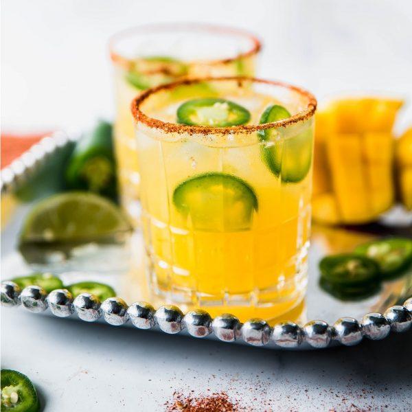 Spicy Margaritas 2 square 600x600 - Spicy Mango Margaritas